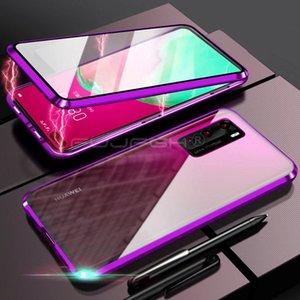 360full Protege Metal Magnic Flip Funda para teléfono para Huawei P40pro Caso P30 Mate 20pro Adsorción Cubierta protectora de cristal templado