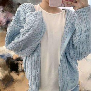 Sweater loose female baby soft milk blue hat outside wear hemp lazy short very fairy zipper knitted cardigan coat