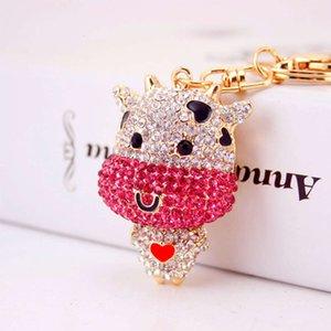 Creative cute inlaid diamond cartoon calf twelve zodiac metal pendant Keychain craft gifts