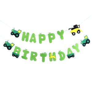 Feliz cumpleaños verde tractor fieltro banner banner granja granja para la construcción vehículo registro forestal tema decoración de fiesta suministros