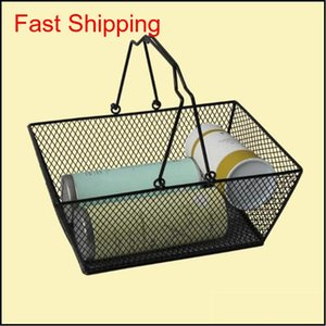 New Shopping Baskets For Cosmetics ,Powder Coated Bastket For Cosmetics Store Wire Mesh Basket With Metal Handles Shipping Iqng6 Sezc4