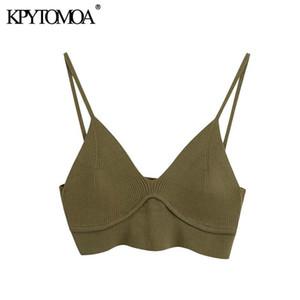 KPYTOMOA Frauen 2021 Sexy Mode Gestrickte Getreide Blusen Vintage Backless V-ausschnitt dünne Riemen Weibliche Hemden Blusas Chic Tops