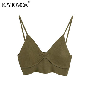 KPytomoa Mulheres 2021 Sexy Moda Malha Cropped Blusas Vintage Backless V Neck Fino Correias Feminino Camisas Blusas Chic Tops