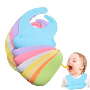 Infant Silicone Bib Baby Bibs Solid Color Waterproof Children Silicone Bib Baby Saliva Rice Pocket Maternal Infant Products YL425
