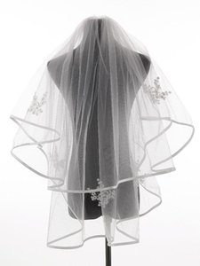 Bridal Veils Arrival Ivory White Ribbon Edge Two Layers Wedding Accessories Tulle Veil With Comb