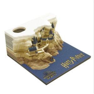 Omoshiroi Block 3D Memo Pads Новинка голосовой кино Строительный блок 3D Примечание Pad Гарри дизайн Рождественский подарок 201201