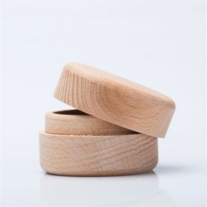 Beech Wood Small Round Storage Box Retro Vintage Ring Box for Wedding Natural Wooden Jewelry Case 136 U2
