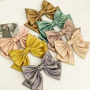 Spring New Bright Silk Cloth Barrette Bow For Woman Girls Hair Accessories Back Head Ponytail Hairpin Lady Headdress Spring Clip