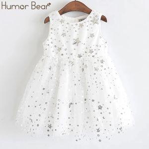 Humour Bear Bear Filles Street Star Star Sequins Nouveaux Enfants Sweet Party Mesh Mesh Princess Kids Robe C0302