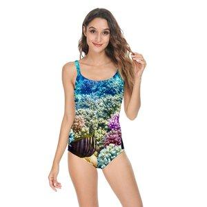 Summer high quality sexy one-piece bikini female swimsuit 3D starry sky map ocean case print backless elastic Swimwear