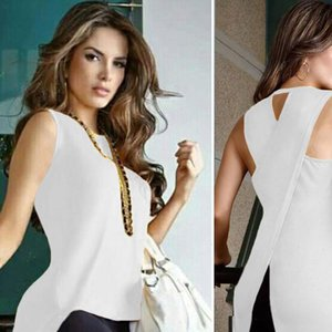 Blouse Women Summer Women Cross Back Sleeveless Blouse Ladies Strappy Vest Tank Tops Blusas Mujer Dames Kleding