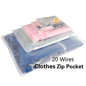 10pcs Plastic Storage Bag Matte Clear Zipper Seal Travel Bags Valve Slide Seal Packing Pouch Cosmetic Clothes Storage