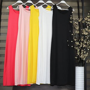 Donne Modal Full Slip Spaghetti Band Vest ROK da 90 a 120 cm Lungo sotto la camicia Slips Inner Petticoat DR-31