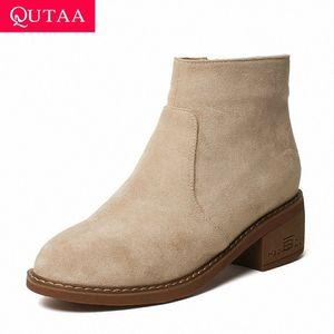QUTAA 2020 akın yuvarlak ayak fermuar moda ayak bileği çizmeler kalın orta topuk kadın çizmeler sonbahar kış casual kadın ayakkabı boyutu 34 43 ayak bileği k27g #