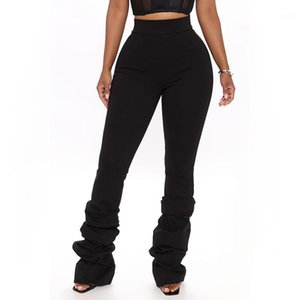 Waist Womens Leggings Solid Color Stacked Pants Slim Fashion Casual Women Clothes 2021 Spring High