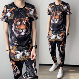 2021 Summer New Fashion Brand Round Neck Tiger Head Printing Short Sleeve Suit Slim Two Piece Trainingspak Heren Spring Set Men Syxt