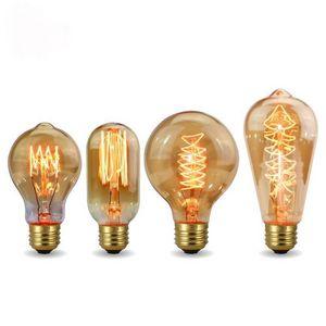 Rétro Edison Bulbe E27 110V 220V 40W ampoules ampoules A60 ST58 ST64 T10 T45 T185 G80 G95 Filament Vintage Ampoule Lampe en spirale à incandescence