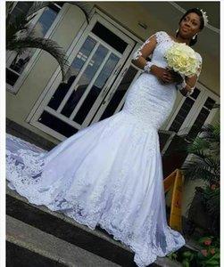 African Mermaid Wedding Dresses Lace Appliques Plus Size Wedding Dress Illusion Long Sleeves Bridal Gowns vestidos de novia