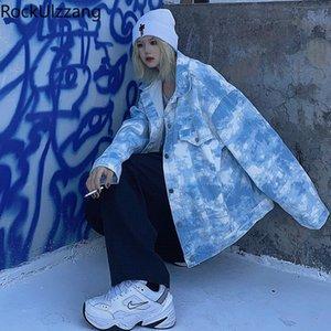 Rockulzzang Streetwear mujer hombre coreano suelto Harajuku Chaqueta Hippie Botón Tie Dye Print Jean Denim Coat Cargo Cortavientos Top