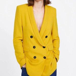 Women's Suits & Blazers Yellow Color Blazer Jacket Women Fashion Long Sleeve Coat Elegant Double Breasted