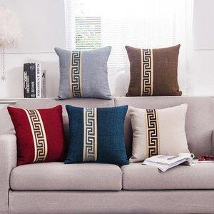 5 цветов простые моды хлопчатобумажные льняные снабжения подушки для дома декор декор диван бросок подушка чехол сплошная наволочка