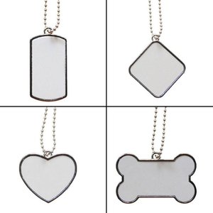 200pcs Sublimation DIY Blank White Stainless Steel Dog Tag Pendants Mix Style SN5158