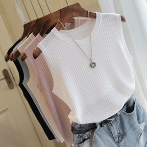 Fashion Woman Blouse 2021 Summer Sleeveless Blouse Women O-neck Knitted Shirt Women Clothes Womens Tops And Blouses C853