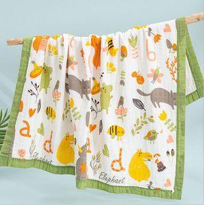 Baby Bath Towel Printing Cartoon Towelling 6 Layers Infant Swaddling Blanket Gauze Cotton Newborn Wrap Cloth Stroller Blankets WMQ590