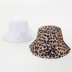 2020 Two Side Leopard Black Bucket Hat For Women Men Reversible Panama Sun Hat Summer Ladies Korean Beach Fisherman Hats1