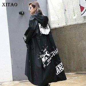 XITAO Spliced Plus Size Black Trench For Women Tide Long Print Streetwear Hoodie Casual Female Wide Waisted Coat 2019 ZLL1100 Z6Tb#