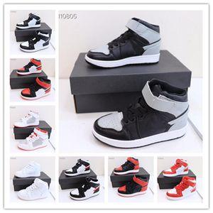 Высокая топ 1s ходьба обувь для мальчиков для мальчиков девочек черный пепел работает спортивные кроссовки 26-35 детей чисто белый красный баскетбольный кроссовки
