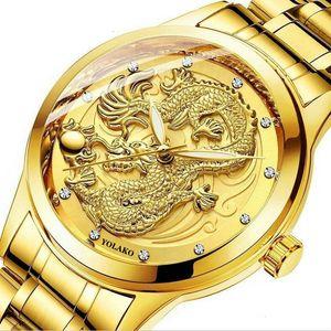 Мода китайский стиль тиснение золотой дракона стальной ремень кварцевый новый бизнес мужские золотые не механические часы