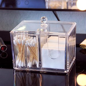 Bathroom Storage & Organization Acrylic Makeup Organizer Cotton Swabs Box Cosmetic Transparent Holder Case Pads Jewelry Clear Container Cask