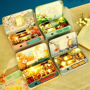 Box Theatre Dollhouse Miniature Toy with Furniture DIY Miniature Doll House LED Light Toys for Children Birthday Gift TH5 210225