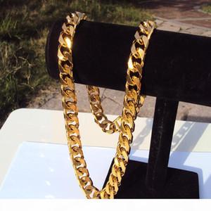 "Cuban Count Chain 22K 23K 24K التايلاندية باهت الأصفر غرامة الصلبة الذهب gp قلادة 24 ""الثقيلة 108 غرام مجوهرات 4 ملليمتر سميكة طويل القامة n16"
