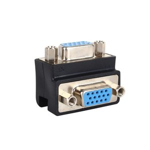 90 Degree Right Angle 15 Pin VGA SVGA Female to Female Converter Angle Adapter Extender Adapter for Cord Monitor Connector