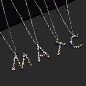 ANDYWEN 925 Sterling Silver 26 Letters Gold Initial Letter A B Pendant Necklace Thin Long Chain Adjustable Mini P G CZ Jewelry 0208