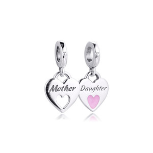CKK Fit Pandora Bracelets Mother Daughter Heart Charms Silver 925 Original Beads for Jewelry Making Sterling DIY Women Q0225
