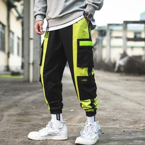 Men Hip Hop Pant Multi Pocket Splicing Trousers Fashion Feet Leisure Trouser Hip Hop Cargo Pants Streetwear For Male