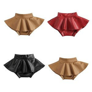 Shorts 0-4Y Fashion Kids Baby Girl Solid Color High Waist PU Leather Skirted Bloomers Pantskirt Bottom Girls Clothes