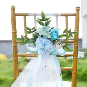 Creative Wedding Chair Cover Decorative Flowers Outdoor Photography Simulation Chair Back Flower Hotel ChairCover Decorations BWD1675