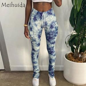 Tie-Dye Print Sportspants Women Pencil Pants Fashion Ruched Split Hem Skinny Workout Pants with Pockets Casual Long Trousers New