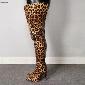 Olomm Handmade Women Shiny Thigh High Boots Stiletto Heels Boots Pointed Toe Gorgeous Leopard Club Shoes Women Plus US Size 5 15 Knee N51x#