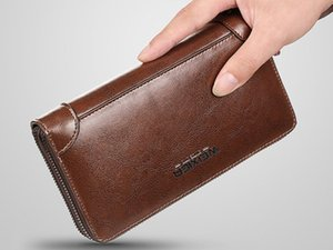 Men Clutch bags Long Length Outdoor Buisness casual satchels vintaged waxed second layer leather lowest prices on sale