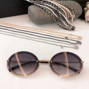 Estilo de metal Cuero de alta calidad 50-140 2021 Outlet Nuevas gafas de sol UV400 Calidad Ronda Exqusite Cadena Pearl Full-Funda HC4245 Hottest Ch Wlef