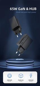 65W 벽 3 포트 GAN 충전기 1 포트 QC3.0 충전 2 포트 PD3.0 TYPE-C 미니 휴대용 플러그 작은 크기 40 % 빠른 충전기