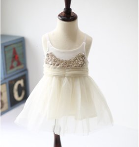 2 to 7 years Girls sequined suspender tulle dresses, princess sling wear kids wedding dance party clothing, boutique clothes, R1ES505DS-36