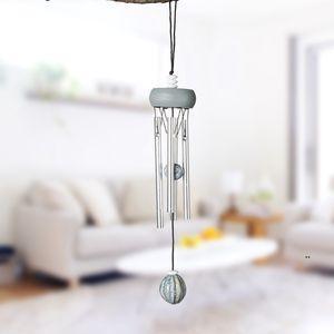 Wood Aluminum Tube Pendants Creative Mini Metal Wind Chime Home and Car Winds Chimes Pendant Decoration Craft Gifts EWD9147