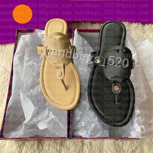 Kadınlar Düz Terlik Lüks Tasarımcılar Sandalet Deri Marka Kız Slaytlar Sandalias Rahat Çevirme Boyutu 35-43 Kutusu Ile