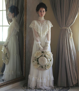 Vintage High Neck Ivory Long Evening Dresses For Women Girls Appliques Lace Retro Medieva Victorian Royal Formal Party Wear Engagement Dress